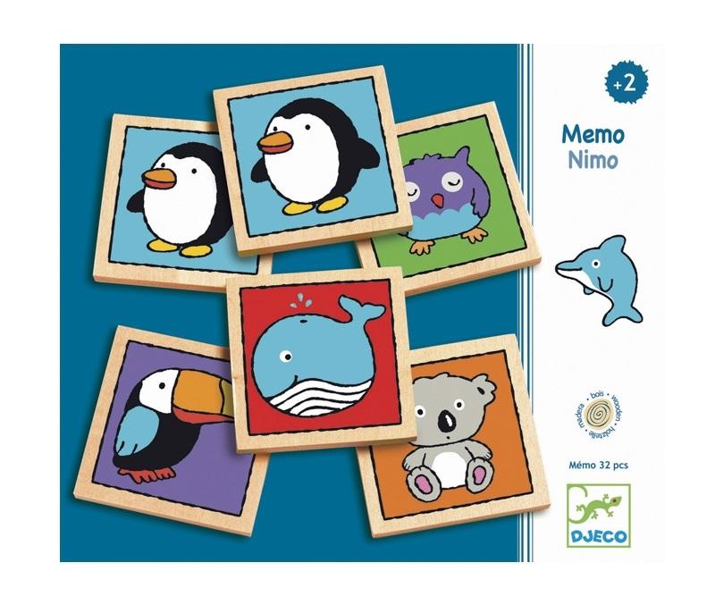 Állatos memória játék fából - Mémo-nimo - Djeco