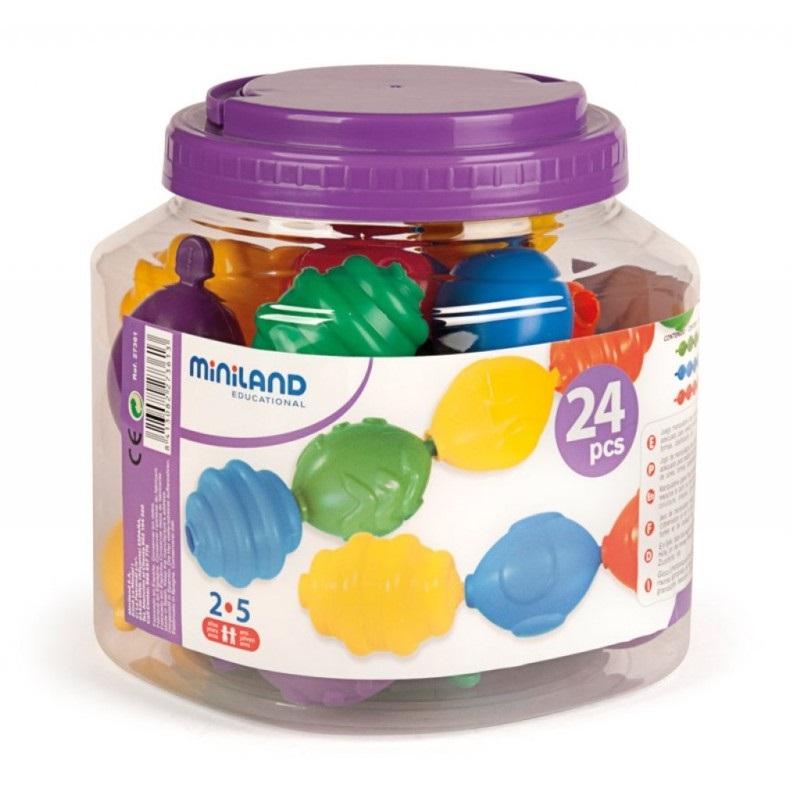 Óriás gyöngykészlet dobozban - 24 db - Miniland Educational