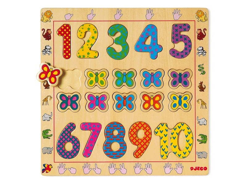 Szám és formaberakó 1-től 10-ig + pillangók - Djeco