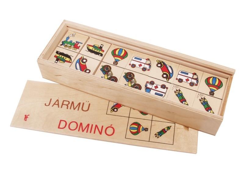 Járműves fa dominó készlet dobozban - Fakopáncs
