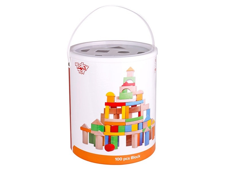 Fa építőkocka készlet - 100 darabos színes és natúr - Tooky Toy