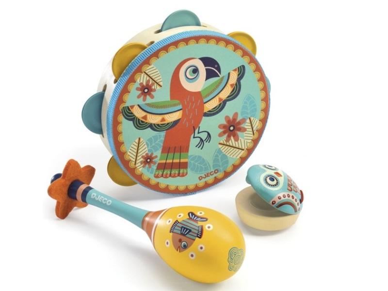 Játék hangszer szett: tamburin, rumbatök, kasztanyetta - Djeco