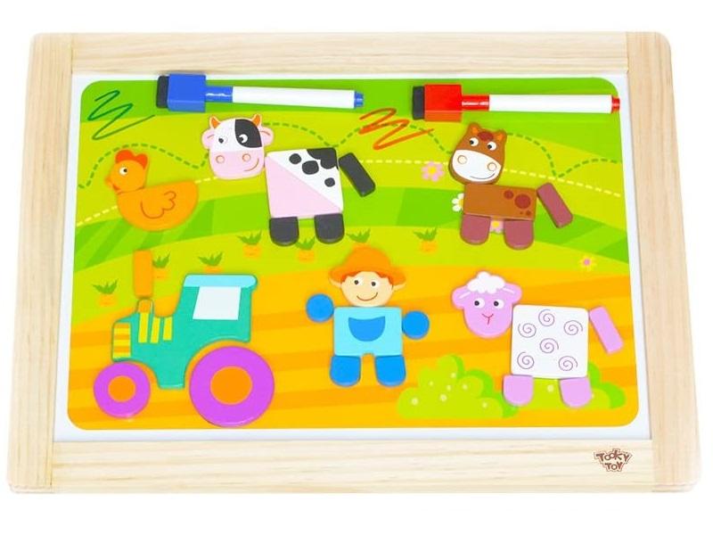 Fa rajztábla filcekkel és mágneses formákkal - Tooky Toy