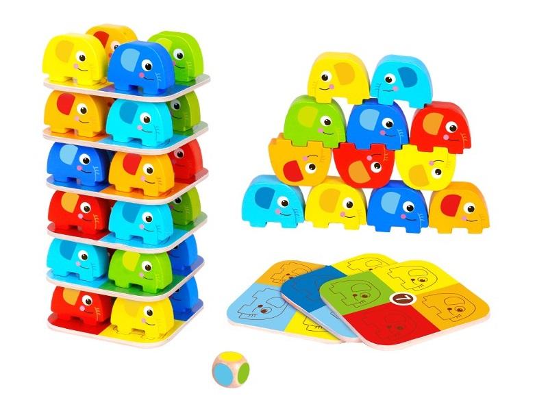 Elefántos toronyépítő játék - Tooky Toy