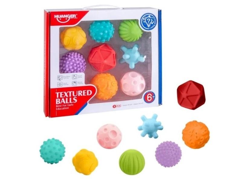 Szenzoros tapintásfejlesztő labdák - 8 darabos szett - Huanger