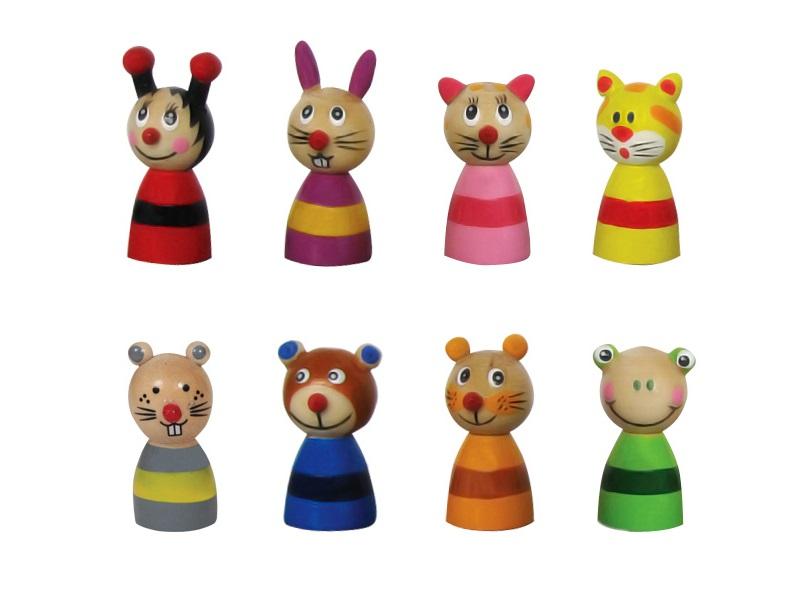 Társasjáték bábu - 8 darab állatfigura - Fakopáncs