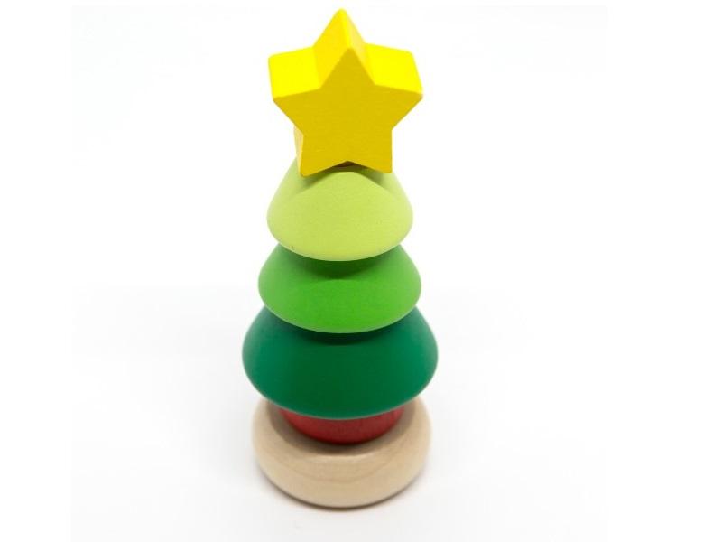 Karácsonyi montessori torony - mini gyűrűpiramis - Fakopáncs